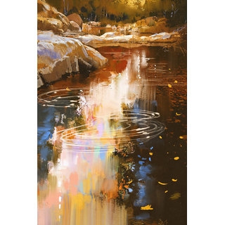 river lines with stone in autumn art
