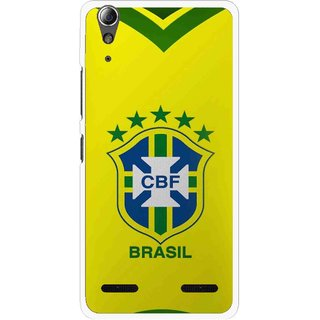 Snooky Printed Brasil Mobile Back Cover For Lenovo A6000 - Yellow
