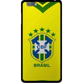 Snooky Printed Brasil Mobile Back Cover For Oppo R1 - Yellow