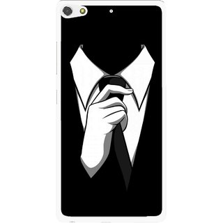 Snooky Printed White Collar Mobile Back Cover For Gionee Elife S7 - Black