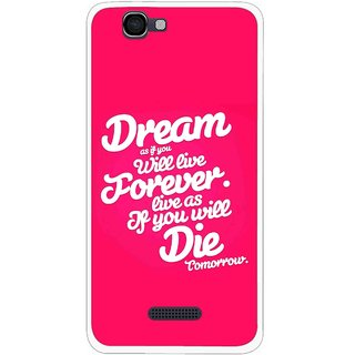 Snooky Printed Live the Life Mobile Back Cover For Micromax Canvas 2 A120 - Pink