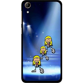 Snooky Printed Girls On Top Mobile Back Cover For HTC Desire 728 - Blue