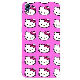 Snooky Printed Pink Kitty Mobile Back Cover For HTC Desire 826 - Pink