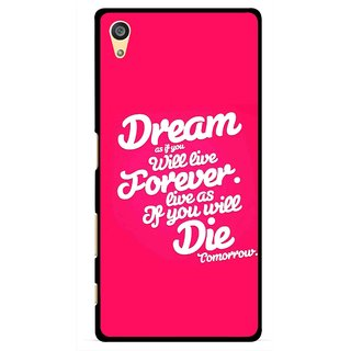 Snooky Printed Live the Life Mobile Back Cover For Sony Xperia Z5 Plus - Pink