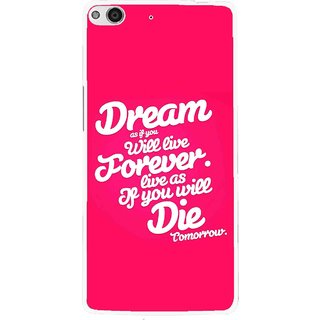 Snooky Printed Live the Life Mobile Back Cover For Gionee Elife E6 - Pink