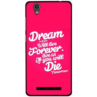 Snooky Printed Live the Life Mobile Back Cover For Gionee F103 - Pink