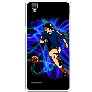 Snooky Printed Football Passion Mobile Back Cover For Oppo F1 - Black