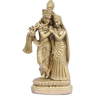 Lotus Base Radha Krishna (Brass Finish)