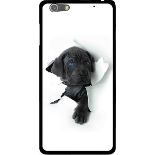 Snooky Printed Cute Dog Mobile Back Cover For Oppo R1 - White
