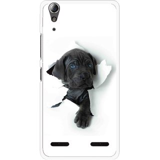 Snooky Printed Cute Dog Mobile Back Cover For Lenovo A6000 - White
