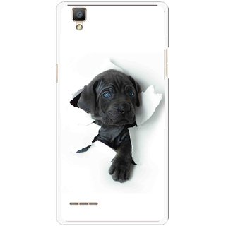 Snooky Printed Cute Dog Mobile Back Cover For Oppo F1 - White