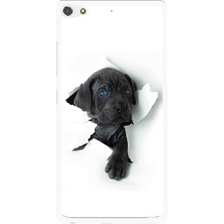 Snooky Printed Cute Dog Mobile Back Cover For Gionee Elife S7 - White