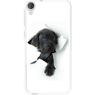 Snooky Printed Cute Dog Mobile Back Cover For HTC Desire 820 - White