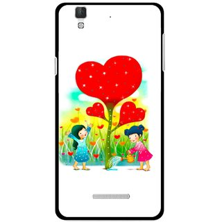 Snooky Printed Heart Plant Mobile Back Cover For Micromax Yu Yureka Plus - White