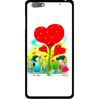 Snooky Printed Heart Plant Mobile Back Cover For Oppo R1 - White