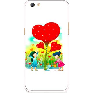 Snooky Printed Heart Plant Mobile Back Cover For Oppo F3 plus - White