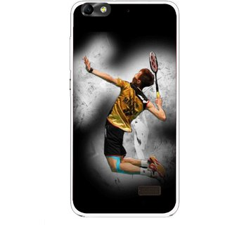 Snooky Printed Badminton Mania Mobile Back Cover For Huawei Honor 4C - Black