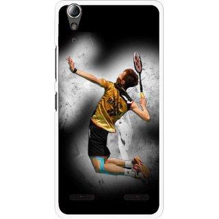 Snooky Printed Badminton Mania Mobile Back Cover For Lenovo A6000 - Black