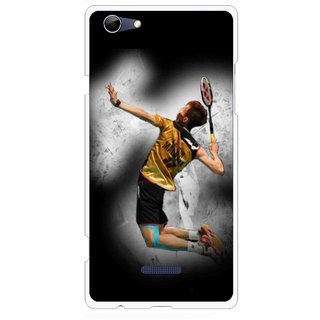 Snooky Printed Badminton Mania Mobile Back Cover For Micromax Canvas Selfie 3 Q348 - Black