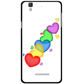 Snooky Printed Colorfull Hearts Mobile Back Cover For Coolpad Dazen F2 - White