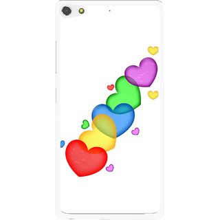Snooky Printed Colorfull Hearts Mobile Back Cover For Gionee Elife S7 - White