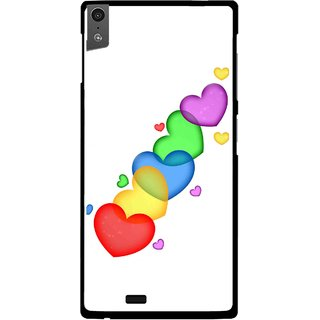 Snooky Printed Colorfull Hearts Mobile Back Cover For Gionee Elife S5.5 - White