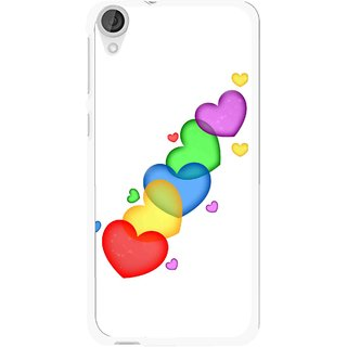 Snooky Printed Colorfull Hearts Mobile Back Cover For HTC Desire 820 - White