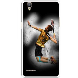 Snooky Printed Badminton Mania Mobile Back Cover For Oppo F1 - Black