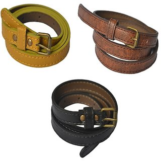Rags Style Combo of 3 Faux Women Leather Casual Belt (Red, Yellow, Brown, Black)