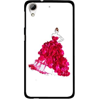 Snooky Printed Rose Girl Mobile Back Cover For HTC Desire 626 - Multi