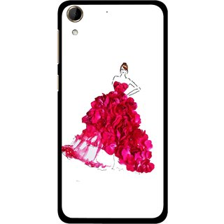 Snooky Printed Rose Girl Mobile Back Cover For HTC Desire 728 - Multi