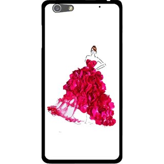 Snooky Printed Rose Girl Mobile Back Cover For Oppo R1 - Multi