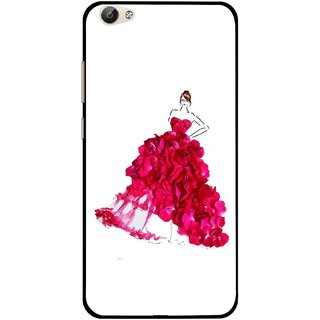 Snooky Printed Rose Girl Mobile Back Cover For Vivo Y55 - Multi
