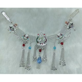 German Silver Half Waist Chain With Multi Color Stone and Crystal 100 gm weight Side Kamardhani 1 year Guaranted Plating