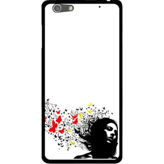 Snooky Printed Butterfly Girl Mobile Back Cover For Oppo R1 - Multi