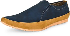 Essence Men's Blue Synthetic Slip-On Party Loafer Shoes