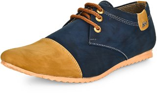 Essence Men's Blue  Yellow Faux Fur Lace-Up Casual Sneaker