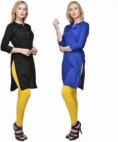 Raabta Royal Blue N Black Rayon Long Dress Set of Two Combo