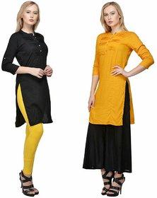 Raabta Yellow N Black Rayon Long Dress Set of Two Combo