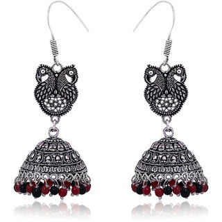 Fashion Frill Dancing Peacock Black Metal Silver Palted Oxidized Red Black Pearl Jhumki Earrings