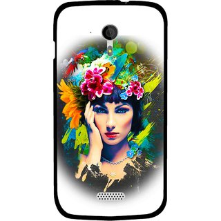 Snooky Printed Classy Girl Mobile Back Cover For Micromax A116 - White