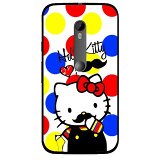 Snooky Printed moustache Kitty Mobile Back Cover For Moto G3 - Multi
