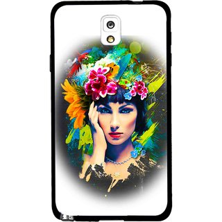 Snooky Printed Classy Girl Mobile Back Cover For Samsung Galaxy Note 3 - White