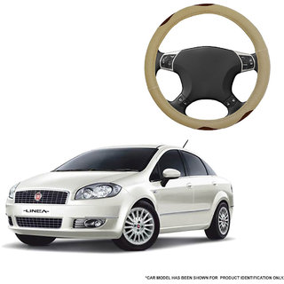 Autofurnish (AFSC-710 Bay Beige) Leatherite Car Steering Cover For Fiat Linea Classic