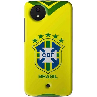 Snooky Printed Brasil Mobile Back Cover For Micromax Canvas Android One - Multi