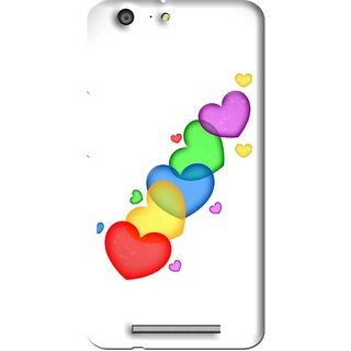 Snooky Printed Colorfull Hearts Mobile Back Cover For Gionee Marathon M5 - Multi