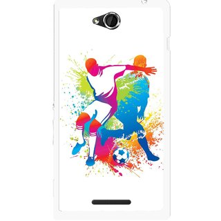 Snooky Printed Footbal Mania Mobile Back Cover For Sony Xperia C - Multicolour