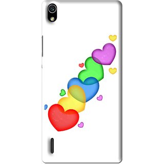 Snooky Printed Colorfull Hearts Mobile Back Cover For Huawei Ascend P7 - Multi