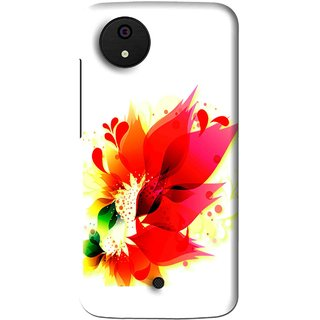 Snooky Printed Flowery Red Mobile Back Cover For Micromax Canvas Android One - Multi