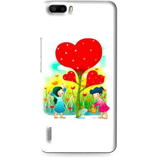 Snooky Printed Heart Plant Mobile Back Cover For Huawei Honor 6 Plus - Multi